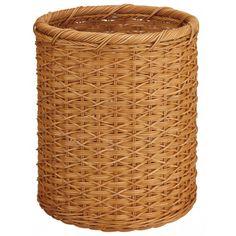 OIA White Round Wicker Wastebasket in Honey - 24642