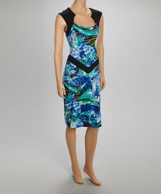 Another great find on #zulily! Blue Abstract Keyhole Sleeveless Dress by Quiz #zulilyfinds