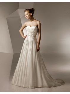 Chiffon Sweetheart Gathered Bodice A-line Wedding Dress