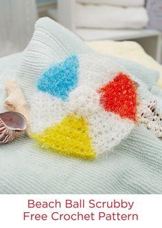 Beach Ball Scrubby Free Crochet Pattern in Red Heart Scrubby Sparkle yarn