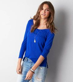 Blue Bling AEO Real Soft® Favorite Pocket T-Shirt