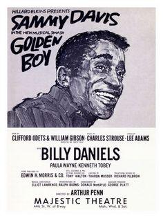 Vintage Theatre Poster - Golden Boy - Majestic Theatre - Broadway - New York  - 1960s