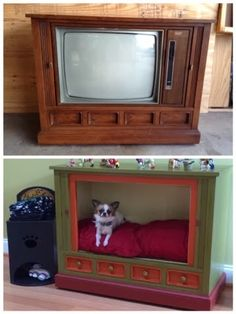 A friend of mine challenged me to make a dog bed out of an old tv. Our inspiration for this project was this: I got on Craigslist a. Tv Dog Beds, Diy Dog Bed, Cool Dog Beds, Pet Beds, Teach Dog Tricks, Crate Bed, Wood Dog, Dog Rooms, Pet Furniture