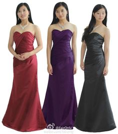 FairOnly Breast Dart A-Line Stain Long Evening Party Prom Dress Bridesmaid Gown