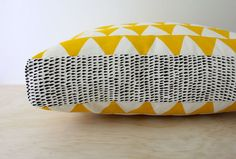 Tri Yellow 40cm x 40cm box cushion  Hand by Bubblesatthehead