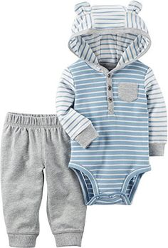 0537a2286 Carter's Baby Boys' 2 Piece Hooded Bodysuit Pants Set Little Boy Outfits,  Little Boys