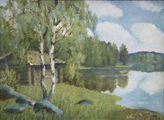 Kalle Aaltonen: Järvenrantamaisema, öljymaalaus