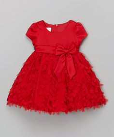 Look what I found on #zulily! Tots Fifth Avenue Occasion Red Floral Bow Cap-Sleeve Dress - Infant, Toddler & Girls by  #zulilyfinds