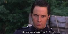Murdoch Mysteries: Detective Murdoch mocks Constable Crabtree.  I knew there had to be a gif of this as soon as I saw it!
