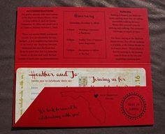 Red, Gold & Blue Vintage Japanese Woodblock Illustration Antique Airline Ticket Wedding Invitations