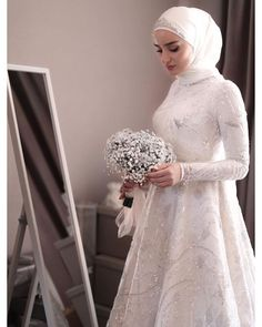 red and white gothic wedding dresses Muslim Wedding Gown, Muslimah Wedding Dress, Muslim Dress, Muslim Brides, Pakistani Wedding Dresses, Long Wedding Dresses, Bridal Dresses, Dress Wedding, Bridal Hijab
