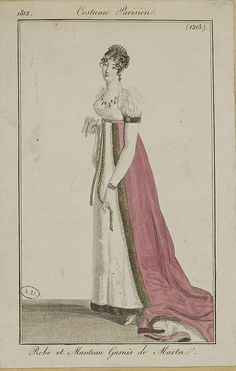 1812 Costume Parisien. Dress and manteau (train) trimmed with marten (fur).