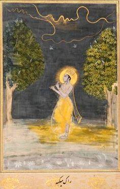 Krishna plays the flute at night during a storm. (Megh Mallar) India.