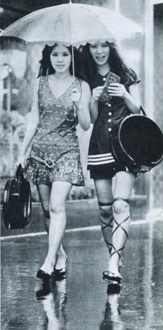 Women in mini skirt walking in Ginza - Japan - 1970