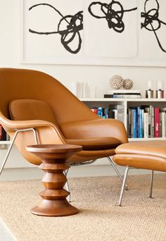 Eero Saarinen Womb chair with ottoman.