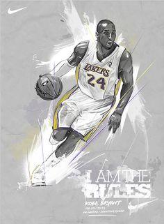 Kobe Bryant Nike ad, graphite style illustration for self promotion.