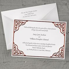Red Lace Design Wedding Invitation All four corners of this elegant invitation are dressed up with ornamental embellishments, an extension of the stunning, red-foil frame.