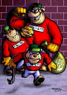 """Beagle Boys"", by terrymelanconjr. Featuring Big Time, Burger, and Bouncer. Dope Cartoon Art, Dope Cartoons, Cartoon Books, Cartoon Games, Doodle Characters, Cartoon Characters, Tableau Pop Art, Muppet Babies, Dark Disney"