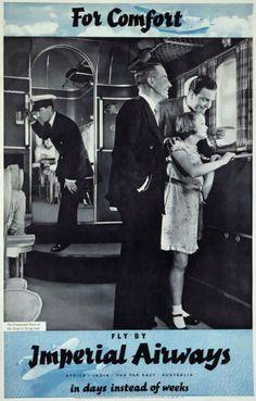 vintage everyday: Vintage British Aviation Posters, ca. Vintage Travel Posters, Vintage Ads, Vintage Airline, Vintage Images, Croydon Airport, Johannesburg City, Flying Boat, Romantic Places, British Airways