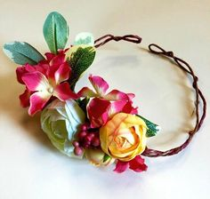 A personal favorite from my Etsy shop https://www.etsy.com/listing/229165805/tropical-wedding-flower-crown-bright