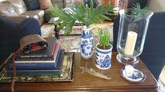 Decorating with trays, thrift store finds--tray, vase, willowware vase, hurricane candleholder, books. Simple, lovely, eye pleasing!  #coastallifestyledesign #CLDtipoftheday