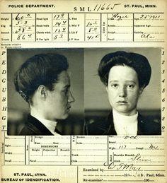 Turn of the century antique Bertillon card. Tattooed. Female. Badass. #mugshot ©retrovertigovintage.com