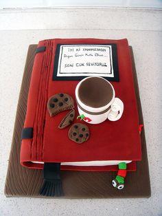 Kitap & Kahve & Kurabiye Temalı Butik Doğumgünü Pastası Book Coffee Cookie Birthday Fondant Cake