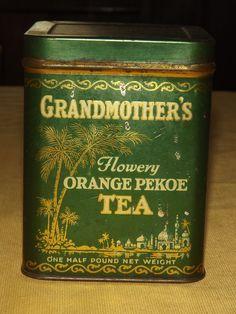 Vintage Tea Tin- 'Grandmother's Flowery Orange Pekoe', Atlantic Pacific Tea Company. by goldtimer, ebay