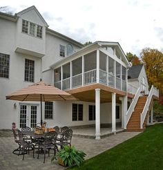 The magic number for outdoor living enjoyment is found on two levels and with three structures:  a deck, screened porch and patio.