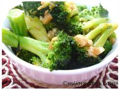 Broccoli with Garlic  This recipe is not only very healthy, it is also very tasty. Broccoli is a food with miraculous properties, science research demonstrating that it is a veritable source of vitamins (A, B, C), magnesium, phosphorus, potassium. Eating broccoli cooked properly (less than 10 minutes) help prevent cancer and strengthen the cardiovascular system.  Good appetite!