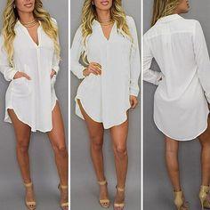 ChiffonTurn Down Collar Sexy Blouses Shirts Mini Dress