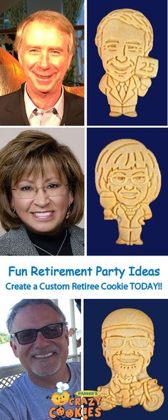 Throw the best Retirement Party ever with custom cookies of your retiree! Although we know your retiree will have lots of retirement wishes, we promise these custom cookies will be a party favour your retiree will never forget! Retirement Celebration, Retirement Party Decorations, Retirement Parties, Retirement Gifts, Grad Parties, Retirement Countdown, Retirement Planning, Retirement Pictures, Retirement Funny