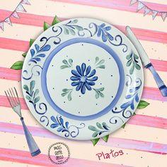 Plato de porcelana pintado a mano por Mas Arte Deco - Podes regalar o regalarte el tuyo acercándote a Alberdi 560 (Tandil) de Lunes a Sábado de 17 a 20hs.
