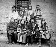 Crow Indian Chiefs Captured at Custer Battlefield, Montana, Nov.7th and imprisoned at Ft. Snelling, Minn. Nov. 15th 1887. Pictured: Crazy Head, Looks with his Ears, Rock, The Man that carries his food, Bank, Deaf Bull, Big Hail Stone, and Crazy Head's Son.