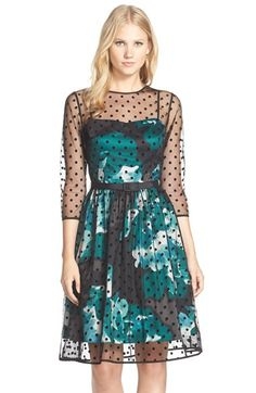 Eliza J Belted Polka Dot Mesh Overlay Fit & Flare Dress (Regular & Petite) available at #Nordstrom
