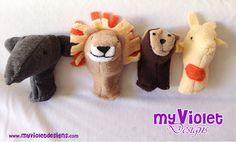 Teatro ambulante de títeres de dedo, con 4 títeres (animalitos) My Violet :D myvioletdesigns.com