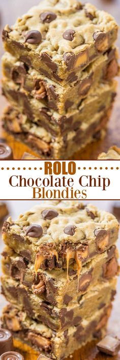 Rolo Chocolate Chip Blondies ~ Gooey caramel, chocolate chips, and buttery soft dough!... Easy, one-bowl, no-mixer recipe that's a guaranteed hit! Who can resist caramel and chocolate!!