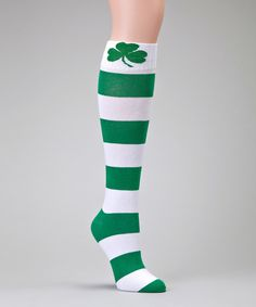 Look at this Green & White Stripe Socks on #zulily today!