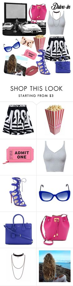 """""""Drive in & date night combine."""" by edaozceyhancom ❤ liked on Polyvore featuring Moschino, Kate Spade, Christian Louboutin, Italia Independent, Yves Saint Laurent, Michael Kors, Smashbox, DateNight, drivein and summerdate"""