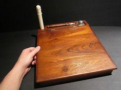 Vintage Antique Style Wood Colonial Folding Lap Writing Slope Desk Inkwell