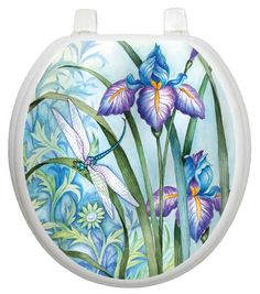 The Toilet Tattoos Themes Iris Beauty Toilet Seat Decal is a stylish way to add a vibrant touch to your bathroom's interiors. This toilet seal decal is made using plastic to ensure that it lasts for Grey Toilet Seats, Dog Toilet, Home Designer, Tattoo Themes, Static Cling, Iris Flowers, Bathroom Hardware, Diy Bed, Cleaning Wipes