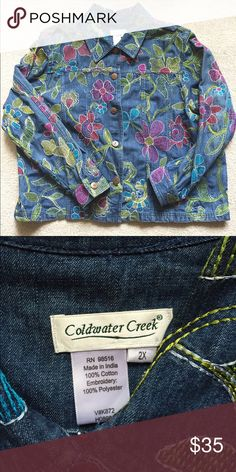 Coldwater Creek Denim Jacket Stretch denim, comfortable, excellent condition, colorful embroidered design. This is a steal! Coldwater Creek Jackets & Coats Jean Jackets
