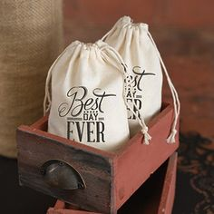 Cotton Favor Bags - Best Day Ever