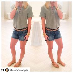 #Repost @alyseboulanger with @repostapp ・・・ Untuck this lace up neck number & it's the perfect length for leggings during Pre-Fall! Come see me today @dressmingle. #dressmingle #currentlywearing #ootd