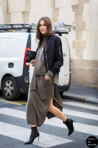Giorgia Tordini wearing Joseph outfit before Haider Ackermann fashion show. Shop this look (or similar) here: Jacket: RICK OWENS Brushed-leather bomber jacket Jumper: ASOS Turtle Neck Jumper in Rib Skirt: ASOS Co-ord Skirt In Rib Knit Boots: SAINT LAURENT Leather ankle boots STYLE DU MONDE on