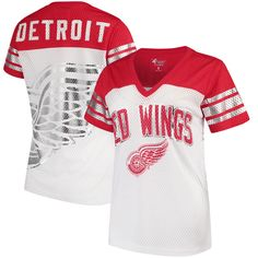 Detroit Red Wings G-III 4Her by Carl Banks Women s All American V-Neck  T-Shirt – White Red 1e64fd508