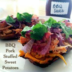Easy BBQ Pork Stuffed Sweet Potatoes | PrimallyInspired.com #glutenfree #paleo #pork
