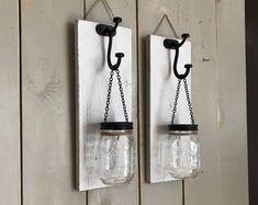Hanging mason jar wall sconce set of 2 mason jar sconce with Mason Jar Sconce, Cream Walls, Hanging Mason Jars, Rustic Walls, Rustic Wall Sconces, Mason Jar Wall Sconce, Wall Sconce Lighting, Floral Wall, Painted Mason Jars