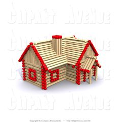 avenue clipart of a 3d red and wooden matchstick house by anastasiya maksymenko