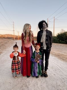 Our family halloween costume for four with kids. This DIY was so fun to put together! Hocus Pocus Sanderson Sisters Source by kristykonicke Look dress Costumes Family, Sibling Halloween Costumes, Diy Costumes, Halloween Costumes For Kids, Costume Ideas, Group Costumes, Zombie Costumes, Halloween Decorations, Outdoor Decorations